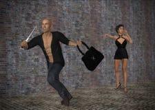 Портмоне разбойничества урывая жертву вызывая иллюстрацию помощи Стоковое Фото