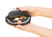 Портмоне с монетками в руке. Стоковая Фотография RF
