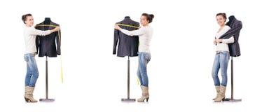 Портной женщины работая на платье Стоковое Изображение