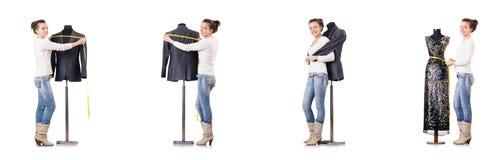 Портной женщины работая на платье Стоковая Фотография RF