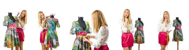 Портной женщины работая на платье Стоковые Фотографии RF