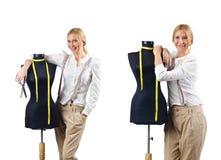 Портной женщины работая на платье Стоковое фото RF
