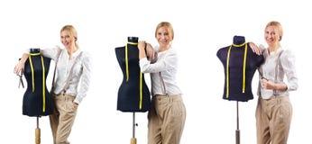 Портной женщины работая на платье Стоковые Изображения RF