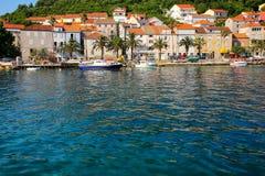 Портовый район городка Korcula, Хорватии Стоковые Изображения RF