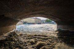 Портовый район и каналы в Санкт-Петербурге, России Стоковые Фото