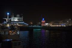Портовый район Кейптаун на ноче Стоковая Фотография RF
