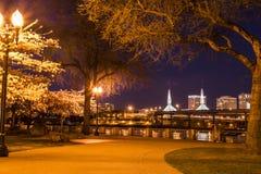 Портовый район Портленда на ноче Стоковая Фотография RF