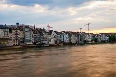 портовый район Швейцарии реки basel rhine Стоковые Изображения