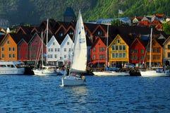 портовый район bergen Норвегии Стоковая Фотография
