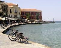 Портовый район Chania Остров Крита, Греции Стоковое Изображение RF