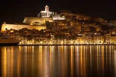 Портовый район Ibiza на ноче Стоковые Изображения RF