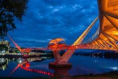 Портовый район Kuching моста Darul Ганы Стоковое Изображение RF
