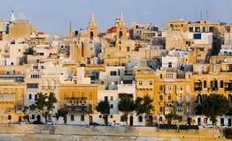 портовый район malta valletta зданий Стоковые Фотографии RF