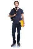 Портрета тела молодого человека студента изолированные люди полного усмехаясь Стоковое Изображение