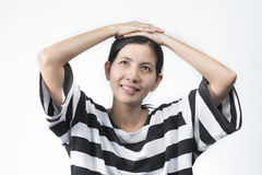 Портреты азиатская женщина делает думают Стоковое фото RF