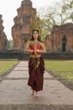 Портреты в концепции Apsara , Сказание женщины в ancie Стоковое Изображение RF