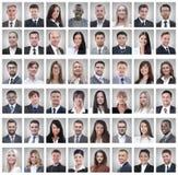 Портреты группы в составе успешные работники изолированные на белизне стоковые фотографии rf