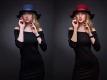 Портреты коллажа сравнения красивой сексуальной женщины before and after и ретушируют Стоковые Изображения RF