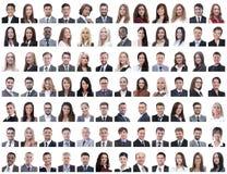 Портреты успешных работников на белизне стоковая фотография