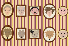 Портреты членов семьи и их собак Стоковая Фотография RF