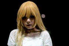 Портрет азиатской девушки хеллоуина Стоковые Фото