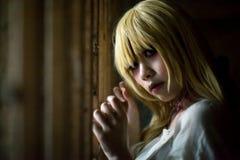 Портрет азиатской девушки хеллоуина Стоковое Изображение