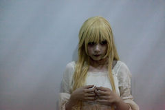 Портрет азиатской девушки хеллоуина Стоковая Фотография