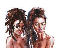 Портрет акварели африканских женщин иллюстрация штока