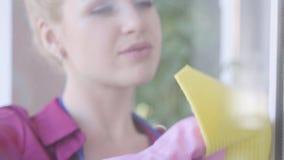 Портрет аккуратной молодой женщины домохозяйки чистое окно с оконной тряпкой, милилетняя уборщица дома Хозяйство видеоматериал