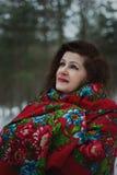 Портрет дамы в красном шарфе Стоковые Изображения