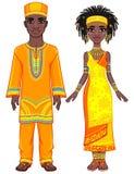 Портрет анимации африканской семьи в ярких этнических одеждах полный рост бесплатная иллюстрация