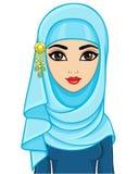 Портрет анимации красивой молодой арабской женщины в hijab иллюстрация штока
