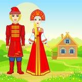 Портрет анимации красивой русской семьи в традиционных одеждах Характер сказки иллюстрация штока
