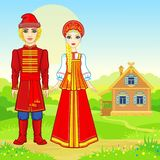 Портрет анимации красивой русской семьи в традиционных одеждах Характер сказки иллюстрация вектора