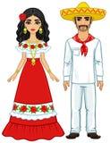 Портрет анимации мексиканской семьи в старых праздничных одеждах полный рост бесплатная иллюстрация