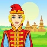 Портрет анимации молодого русского человека в богатых старых одеждах Характер сказки иллюстрация штока