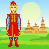 Портрет анимации молодого русского человека в богатых старых одеждах полный рост иллюстрация вектора