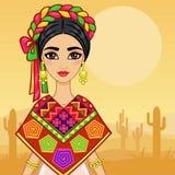 Портрет анимации молодой мексиканской девушки в старых одеждах Предпосылка - пустыня с кактусом иллюстрация вектора