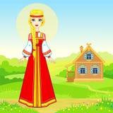Портрет анимации молодой русской девушки в традиционных одеждах Характер сказки иллюстрация штока