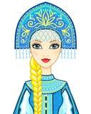 Портрет анимации русской принцессы в старых одеждах Девушка снега, Vasilisa, характер сказки иллюстрация штока