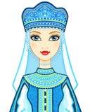 Портрет анимации русской принцессы в старых одеждах бесплатная иллюстрация