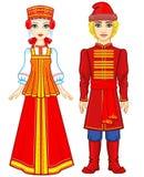 Портрет анимации семьи в старых русских одеждах бесплатная иллюстрация