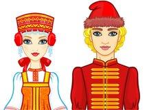 Портрет анимации семьи в старых русских одеждах иллюстрация штока