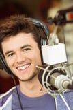 Портрет аудио студента университета записывая Стоковая Фотография