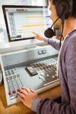 Портрет аудио студента университета смешивая Стоковые Фотографии RF