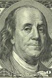 Портрет Бенджамина Франклина на банкноте в долларах 100 американцев Стоковые Изображения RF