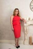 Портрет белокурой женщины в красном платье в стуле камином Стоковые Фото