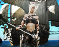 Портрет белокурой женщины пирата приходя на берег с шпагой в руке и пиратском корабле в предпосылке Небольшой атмосферический дож бесплатная иллюстрация