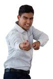 Портрет бизнесмена вытягивая незримую веревочку Стоковая Фотография RF