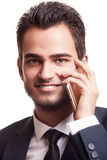 Портрет бизнесмена говоря на телефоне Стоковое Изображение